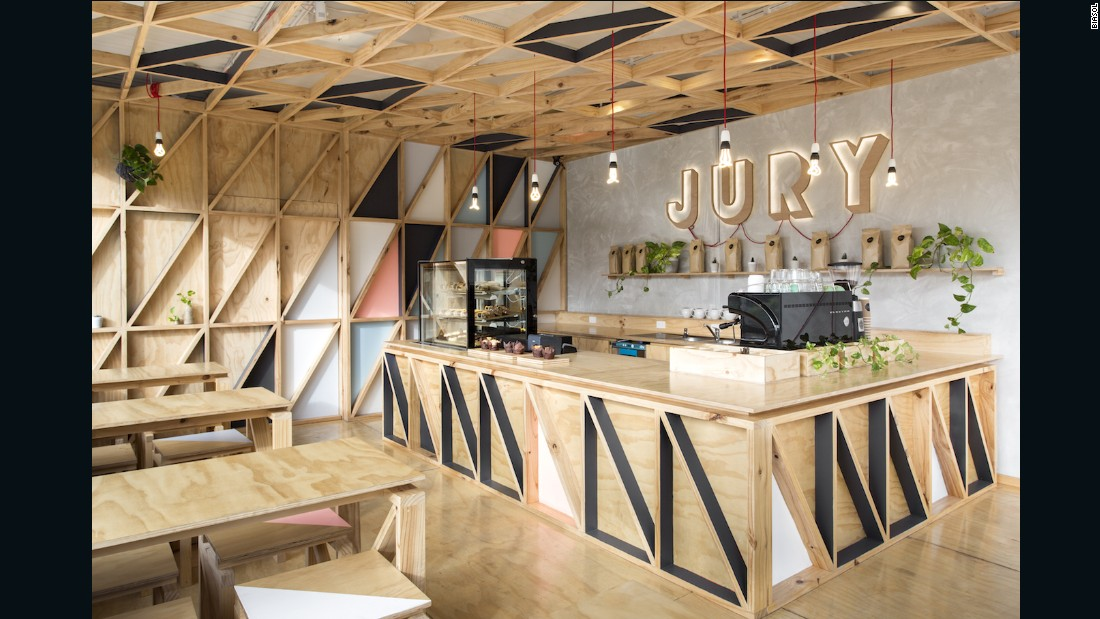 The bright white interiors and blond timbers of the Jury cafe, located in the new Pentridge Prison redevelopment, sit in stark contrast to its dark past as an infamous prison.