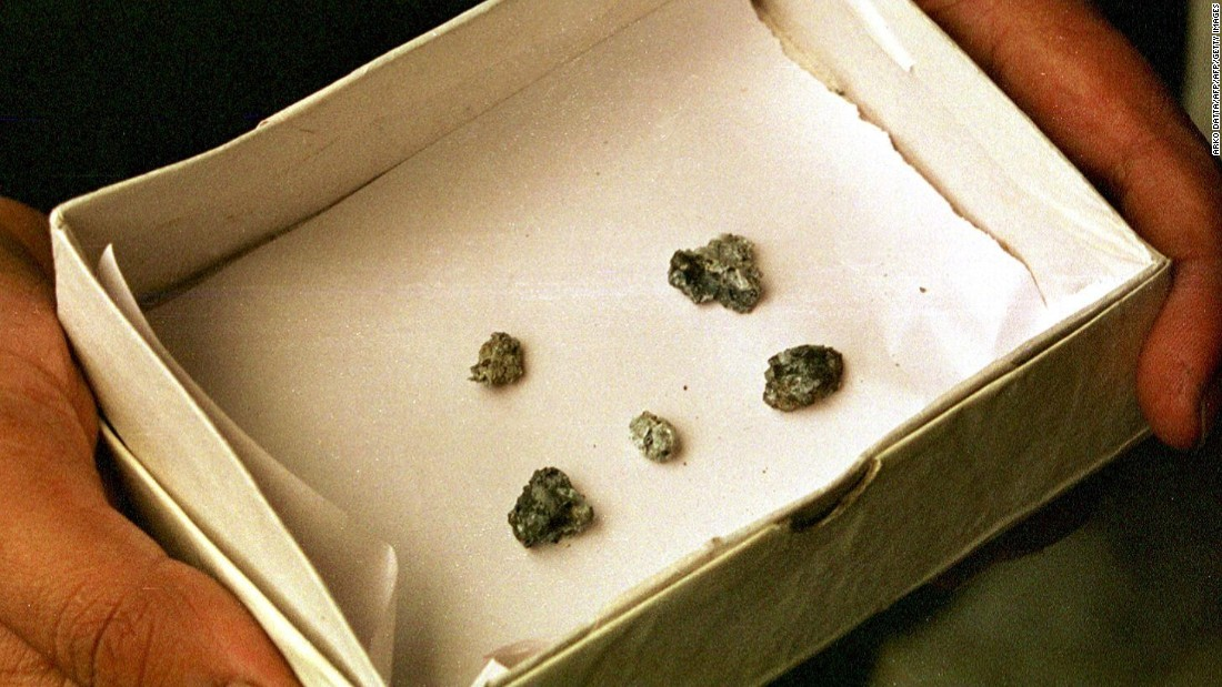 Pieces of a single meteor measuring 1.5 by 1 inches are displayed in a box in Calcutta.