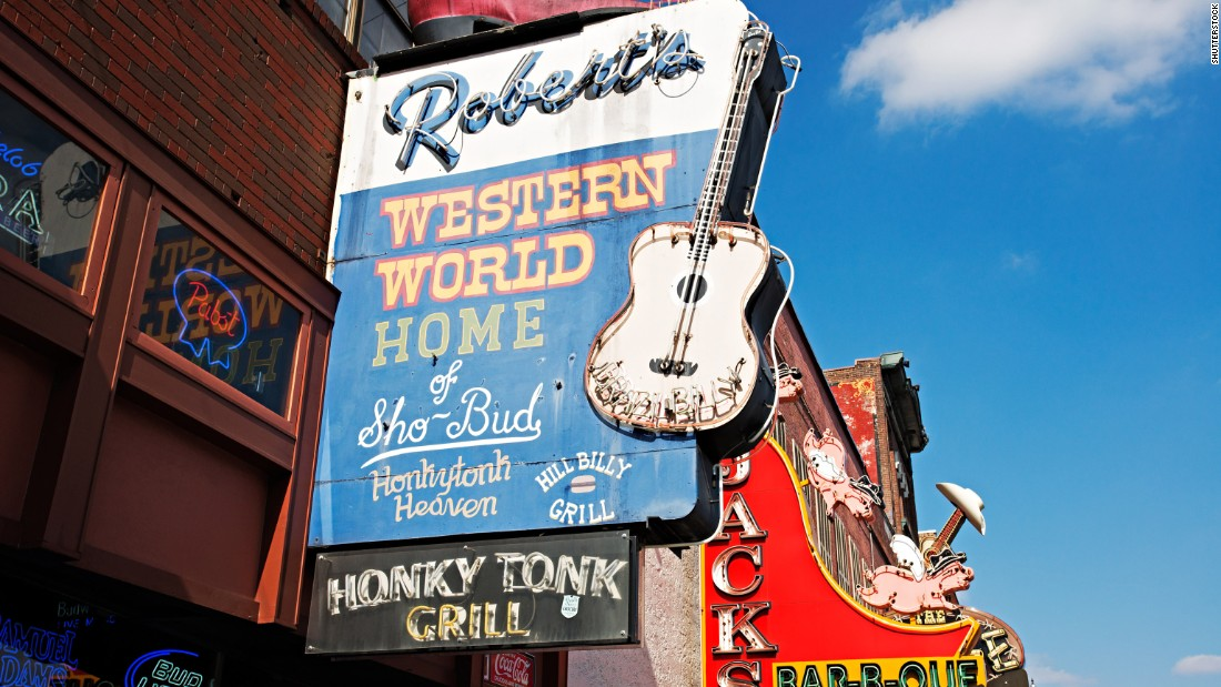 Right around the corner from the Ryman, Robert's Western World is one of the city's most beloved honky-tonks for traditional country music. Bands play every day from about 11 a.m. to 2 a.m.