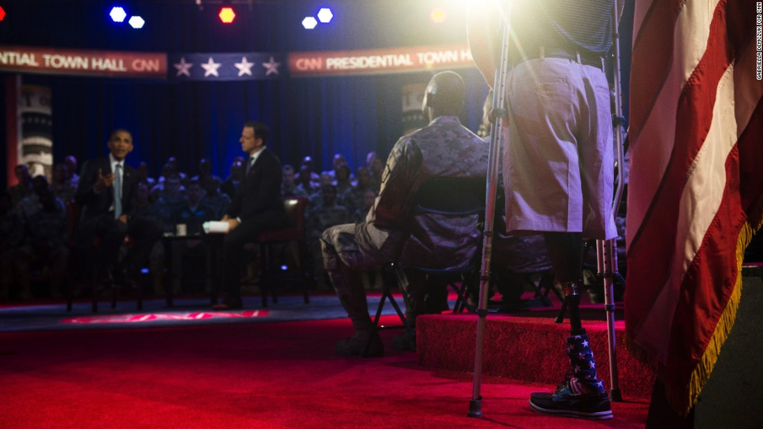 The event gave Obama a chance to meet with members of the military community, including veterans and active-duty service members. Here, he answers a question from Marine Cpl. Brandon Rumbaugh, who lost both of his legs in Afghanistan.