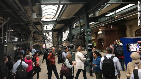 Structural damage appears severe in social images posted after the crash at the Hoboken terminal.