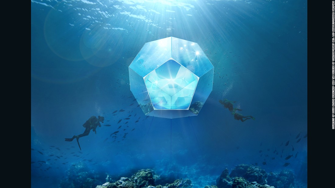 Artist Doug Aitken is planning on building geometric spaces of underwater art, allowing swimmers, divers, and snorkelers to experience submerged pavilions.