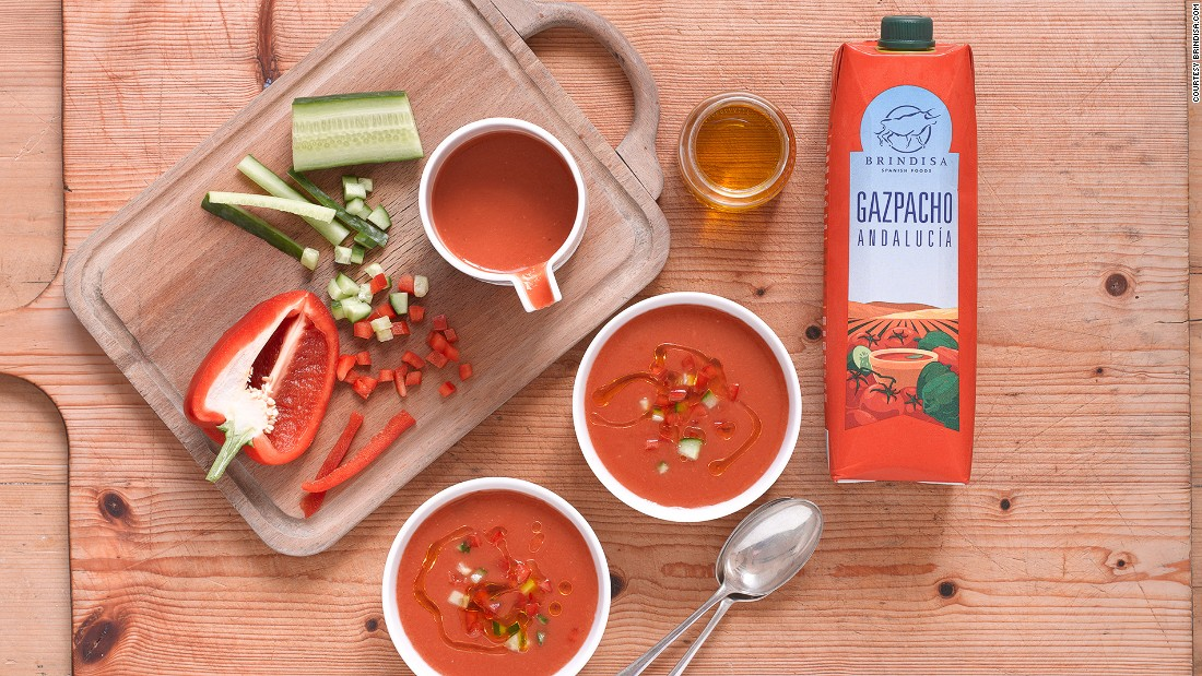 "Cold tomato-based gazpacho soup is ideal for a hot Seville summer. In addition to tomato, it's usually flavored with peppers, garlic, bread and lots of olive oil. (Image credit: <a href=""http://Brindisa.com"" target=""_blank"">Brindisa.com</a>)"
