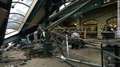 The roof collapse after a NJ Transit train crashed in to the platform at the Hoboken Terminal September 29, 2016 in Hoboken, New Jersey.