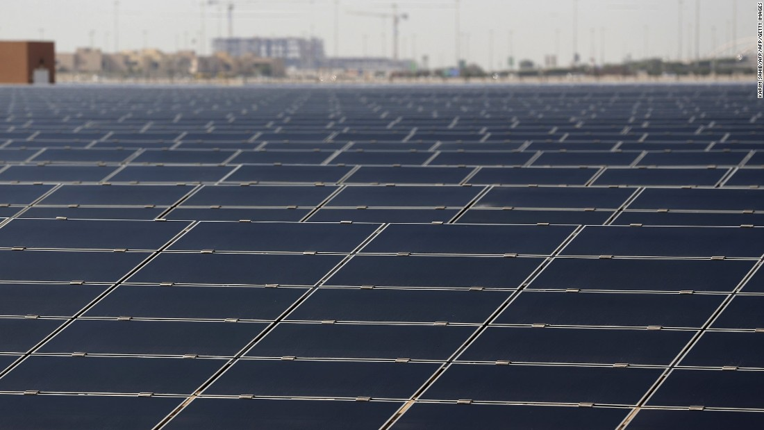 The 10-megawatt solar farm on the outskirts of Masdar City provides much its energy needs.