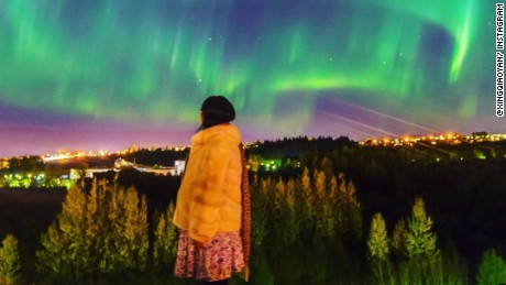 The Aurora Borealis lit up skies in Reykjavik this week.