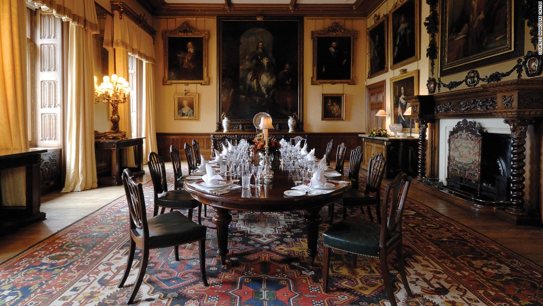 At the back of the State Dining Room hangs a portrait of King Charles I by Van Dyck, flanked by portraits of Carnarvon ancestors.