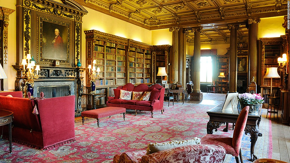 """One of the most familiar settings in """"Downton Abbey,"""" the library stocks more than 5,650 books. It's said to be a focal meeting point for families in the past and today."""