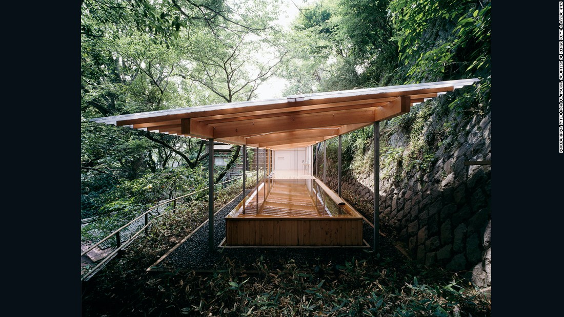 With a transparent canopy and use of wood, Kengo Kuma's Horai bathhouse takes inspiration from traditional Japanese hot springs.