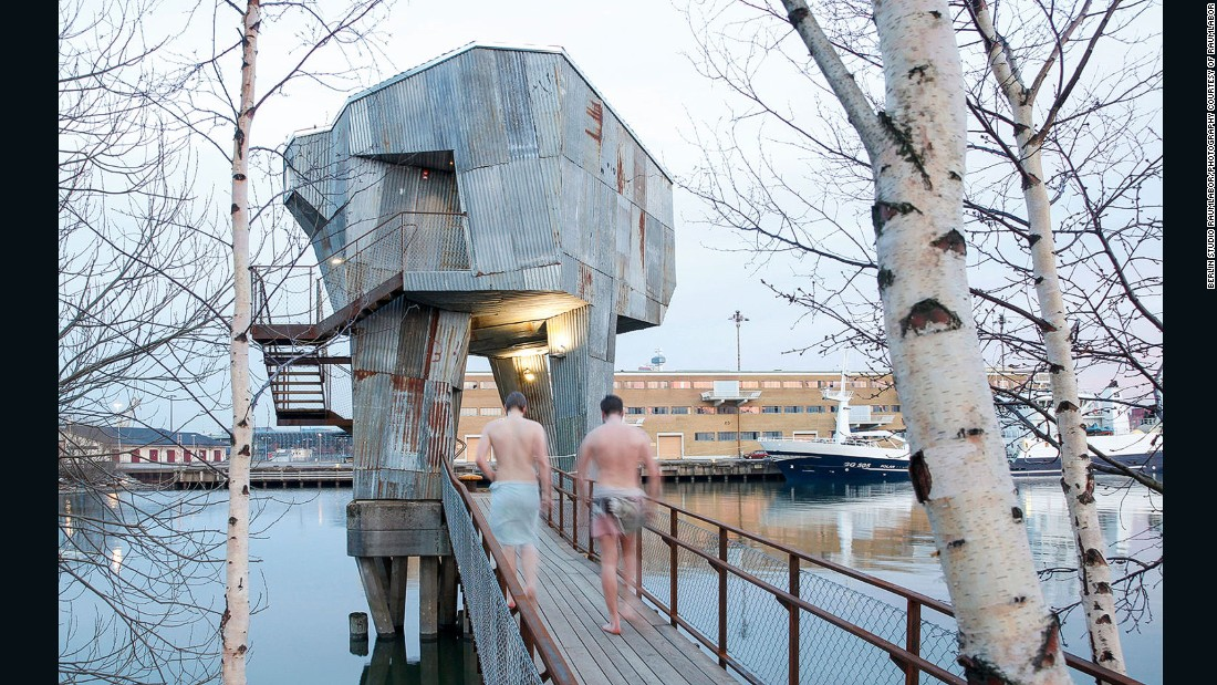 Studio Raumlabor built a rusty steel bathhouse in Frihamnen, in the port of Gothenburg.