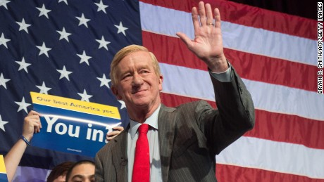 Libertarian vice-presidential candidate William Weld takes the stage to speak at a rally on  September 10, 2016 in New York. =