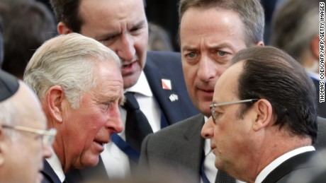 French President Francois Hollande and Britain's Prince Charles, Prince of Wales, were both in attendance.