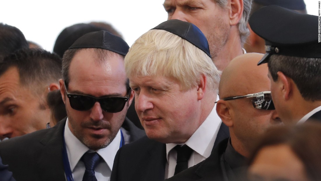 British Foreign Minister Boris Johnson attends the funeral. Former British Prime Ministers Tony Blair and David Cameron were also in attendance.