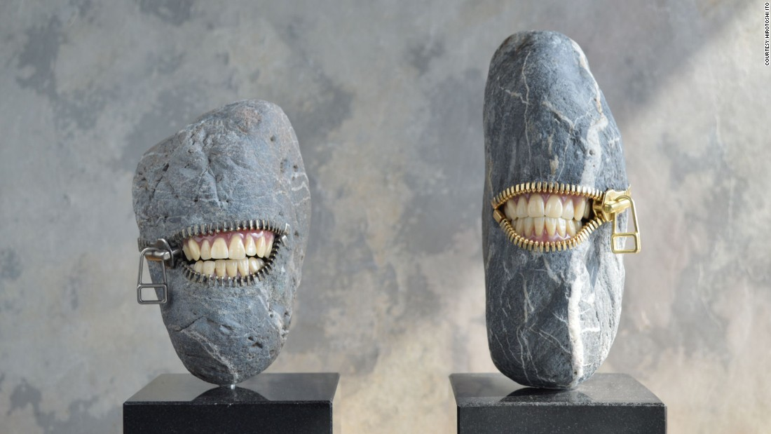 "In Japanese artist <a href=""http://www.jiyuseki.com/english/english.html"" target=""_blank"">Hirotoshi Ito's work</a>, the nature and civilization collide in humorous stone works. He, however, rejects any surrealist labeling. <br /><br />""I was influenced as much as by the spirit of fun that Japanese traditional crafts have as by some works of surrealists,"" he says."