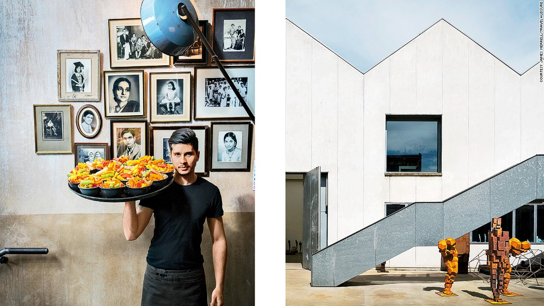 Left: Indian street snacks at Dishoom King's Cross. Right: Sculptor Antony Gormley's studio.