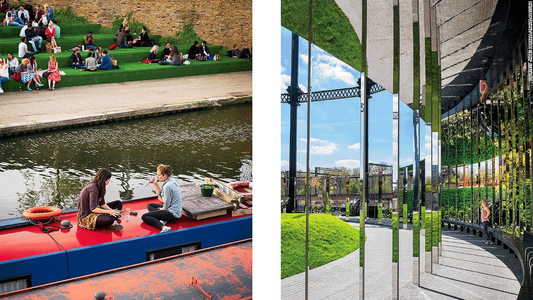 Left: Evening drinks on the roof of a canal boat and new waterside seating off Granary Square; Right: The mirrored panels of Gasholder No. 8, a disused Victorian gas tank now converted into a public art piece.