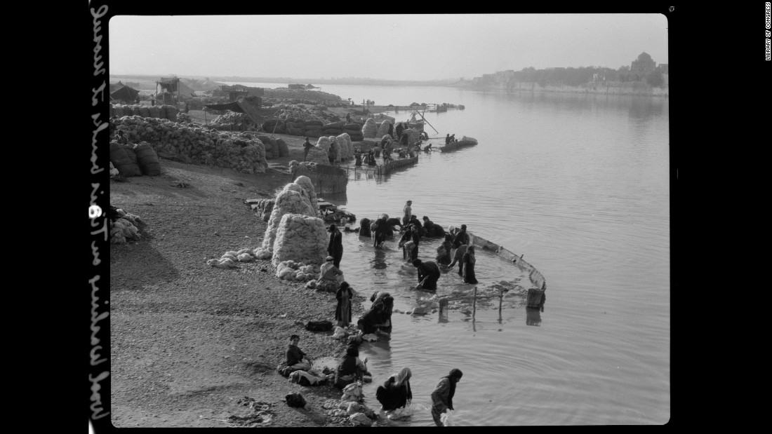 Among the many activities on the Tigris River in Mosul was wool washing.