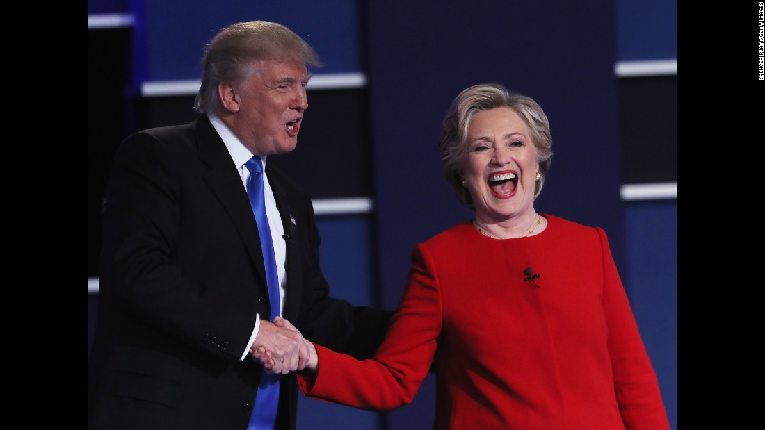 "Republican nominee Donald Trump and Democratic nominee Hillary Clinton shake hands at the end of <a href=""http://www.cnn.com/2016/09/26/politics/gallery/first-presidential-debate/index.html"" target=""_blank"">the first presidential debate,</a> which took place in Hempstead, New York, on Monday, September 26. It was <a href=""http://money.cnn.com/2016/09/27/media/debate-ratings-record-viewership/index.html"" target=""_blank"">the most-watched debate</a> in American history."