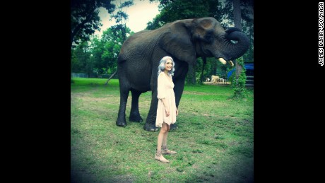 Kat was able to meet elephants, an item on her bucket list.
