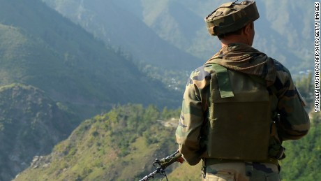 An Indian army soldier in Indian-administered Kashmir