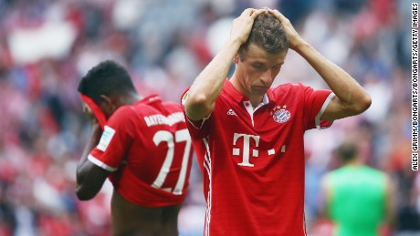 Thomas Muller reacts after Bayern was held at home to FC Cologne.