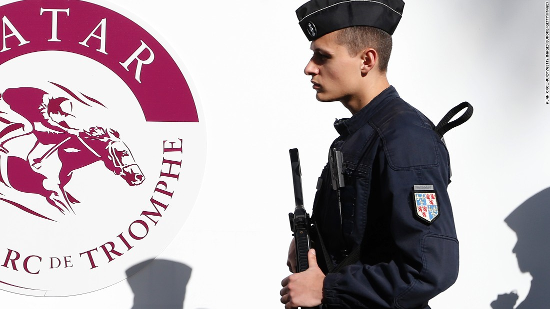 Security was tight at the racecourse in Paris with armed police on patrol.