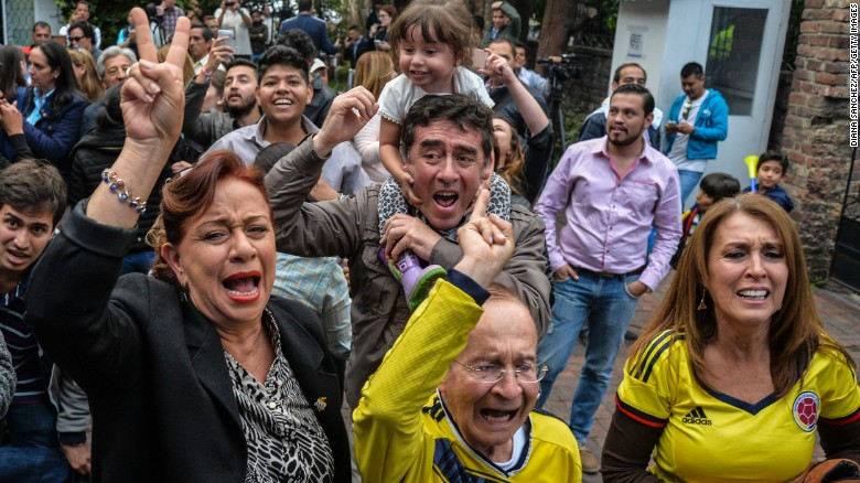 Colombians celebrate as the results of a referendum in October were announced, rejecting a peace deal with FARC rebels.