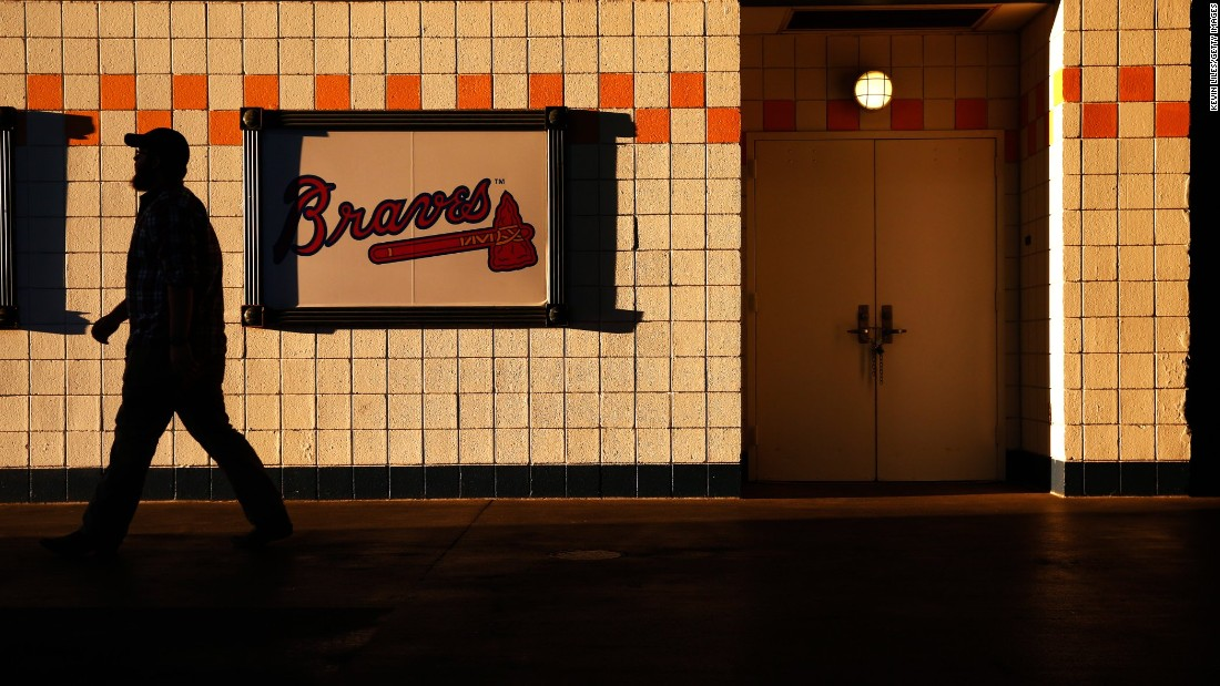 A fan walks inside Turner Field before the game between the Atlanta Braves and Detroit Tigers on October 1.