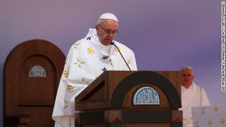 Pope Francis leads a mass at the Mikheil Meskhi Stadium during his visit in Tbilisi, Georgia on October 1.
