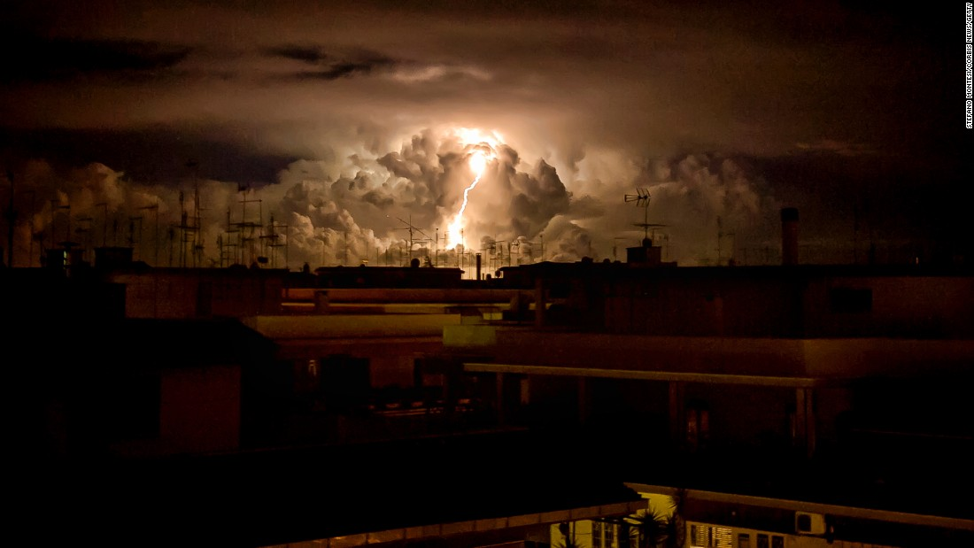 Lightning strikes near Rome during the cyclone Morgana on Tuesday, September 6.