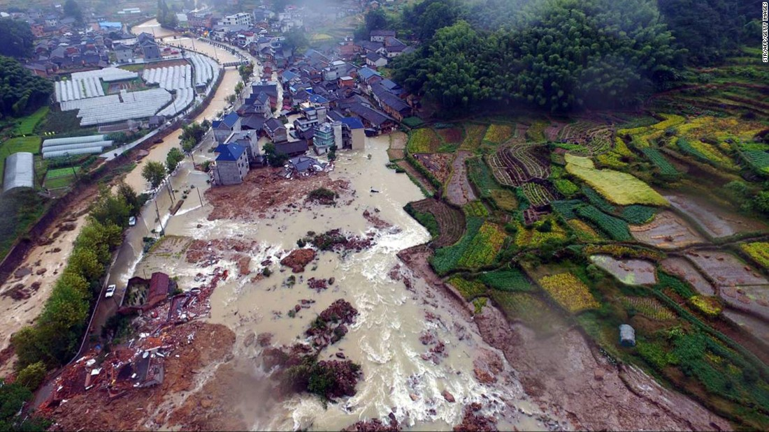 An aerial view of a landslide that affected a village in China's Suichang County on Thursday, September 29.