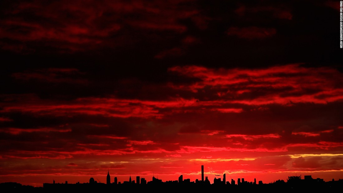 The sun sets in New York City on Tuesday, September 6.