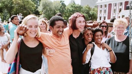 South Africans celebrating the referendum vote.