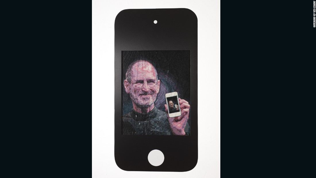 "Framed by a faux-iPhone, ""Steve"" is one of the artist's micro-mosaics, large and detailed works comprised of dyed gum."