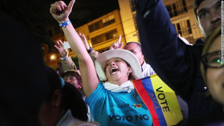Colombians narrowly reject peace deal with the FARC