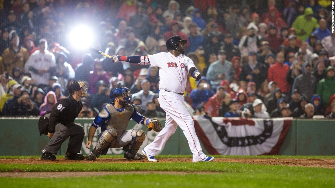 David Ortiz hits a ball foul during a Major League Baseball game in Boston on Saturday, October 1.