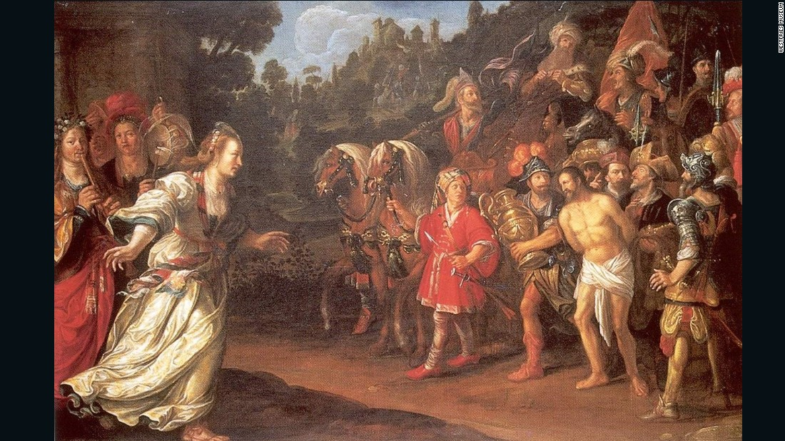 "Painted by Hoorn artist Jacob Waben, ""The Return of Jephta"" was found framed and in good condition. It's thought it may have been kept alongside the painting ""Lady World."""