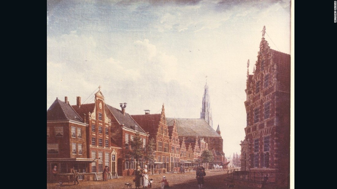 "The fifth painting to be recovered in Ukraine, ""Nieuwstraat in Hoorn"" by Izaak Ouwater depicts a street scene in Hoorn. It was badly damaged and has a significant tear in the canvas."
