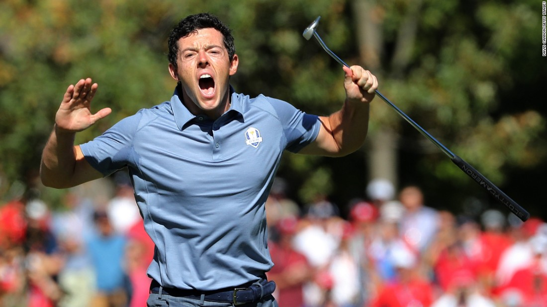 Rory McIlroy reacts after making a long birdie putt at the Ryder Cup on Sunday, October 2.