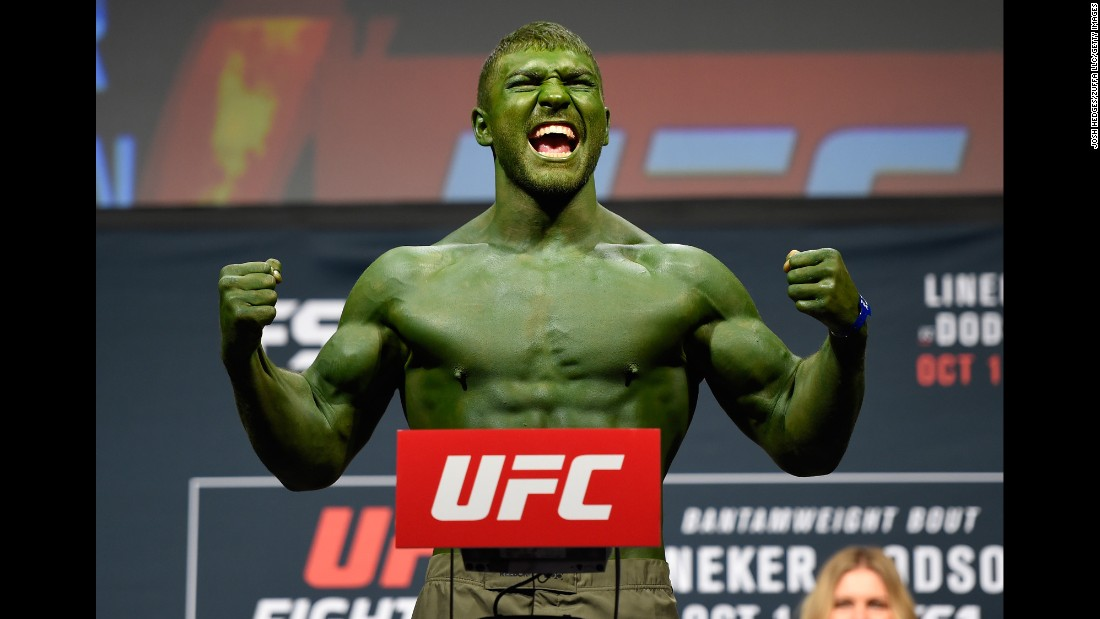 Ion Cutelaba channels the Incredible Hulk at his UFC weigh-in on Friday, September 30.