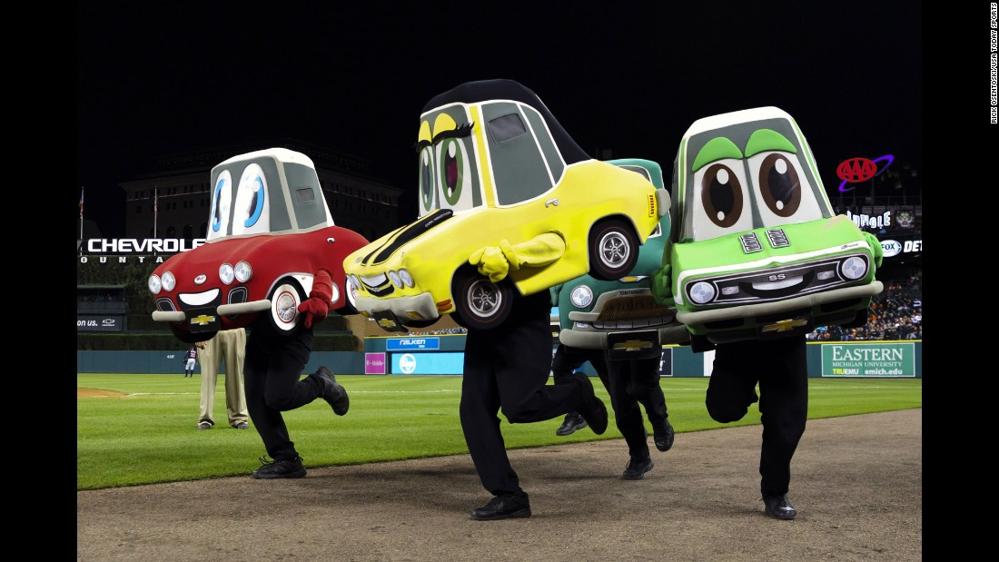 "The ""Motor City Wheels"" mascot race takes place at a Detroit Tigers baseball game on Tuesday, September 27."