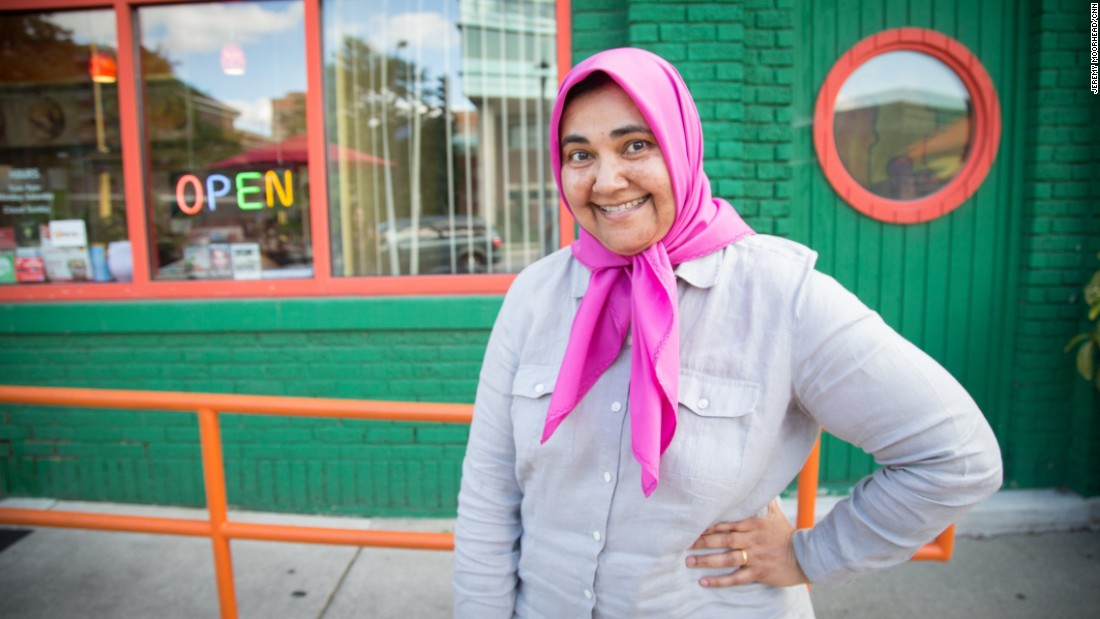 """Nahid Khan, born in London, lives north of Minneapolis. Voted for Bernie Sanders in the primaries and will vote for Hillary Clinton in November. <br /><br />""""I think I run into a lot of people who are embarrassed by Trump and are extra friendly toward me as a result."""""""