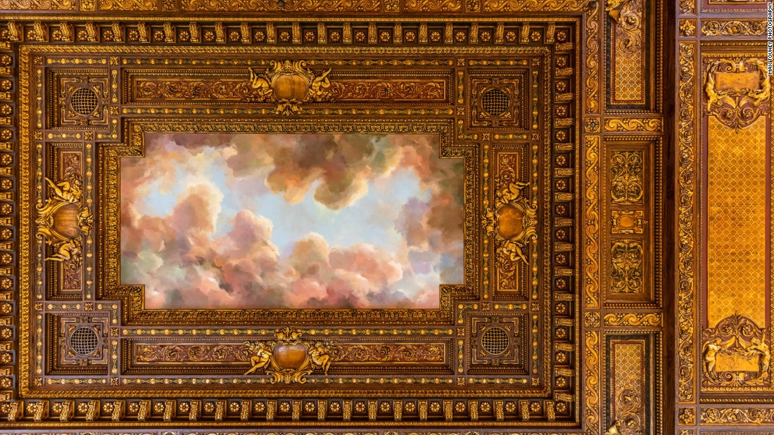 """""""The mural on the ceiling has been restored and it is spectacular. The extraordinary rosettes, the renaissance suggestions that are up there,"""" Kelly says, naming some of the most impressive features of the renovation."""