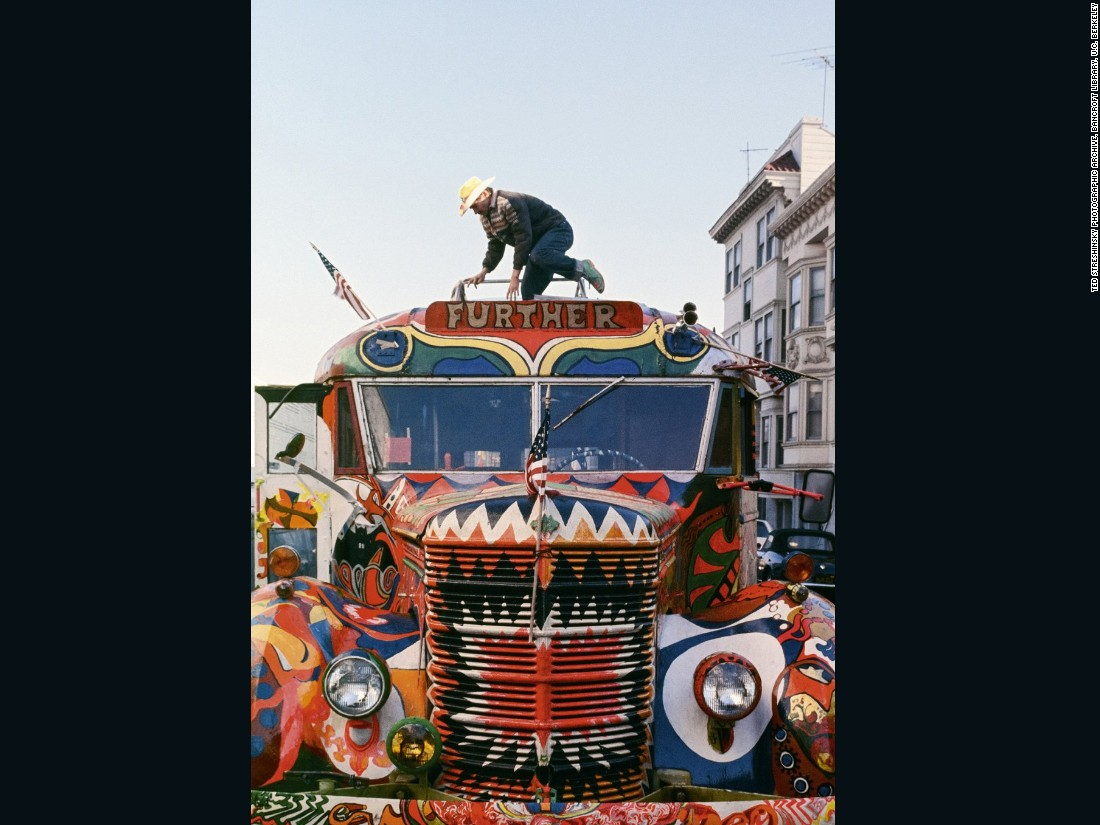 "The Merry Pranksters barreled around the US on a modified 1939 school bus nicknamed ""Further."" Painted -- and frequently repainted -- with vibrant psychedelic imagery, the bus crossed the country to the New York World's Fair in 1966, before returning. After that it would be used for West Coast adventures, to Beatles concerts for example, with Pranksters jamming on the roof as they drove."