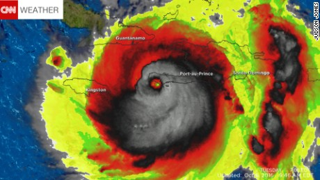 Satellite image shows Hurricane Matthew resembling a human skull.