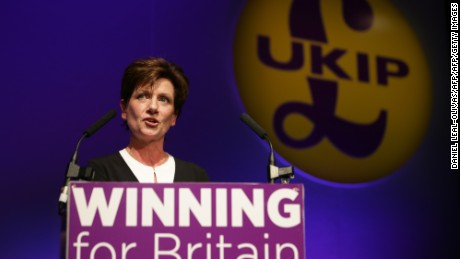 Diane James address the UKIP party conference in September.