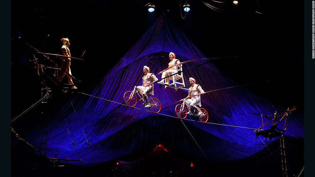 This show includes stunts such as these tightrope walkers criss-crossing 25 feet above the stage.