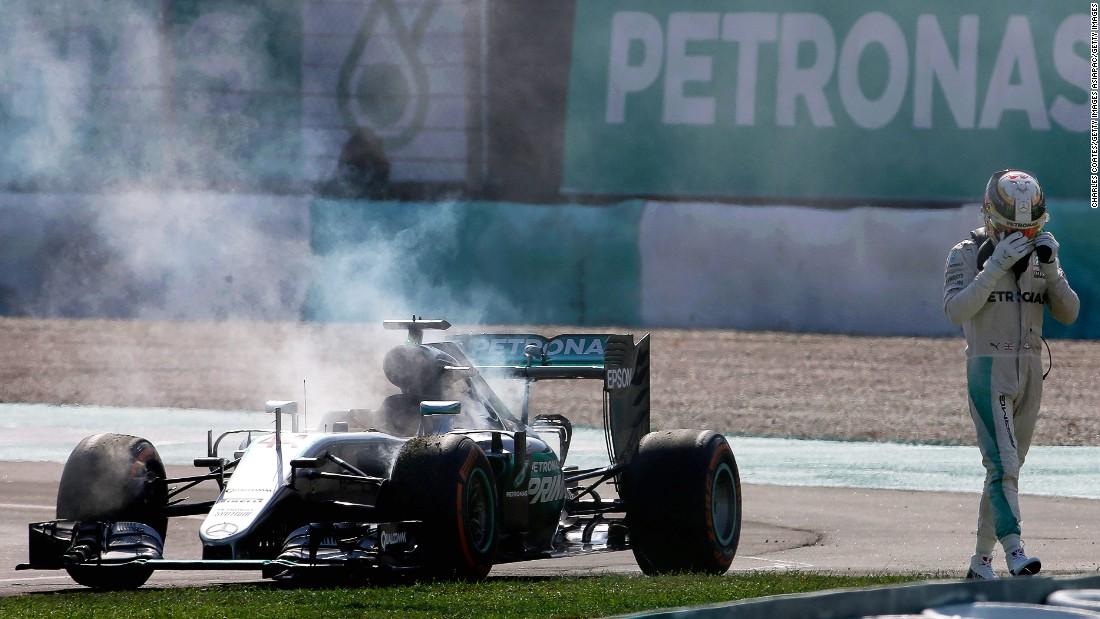 "Hamilton arrived in Kuala Lumpur determined to reignite the title battle, and everything was going smoothly until lap 43 of the race when his engine caught fire. ""Oh no, no,"" moaned Hamilton as he was forced to retire. Rosberg finished third <a href=""http://cnn.com/2016/10/02/motorsport/malaysia-gp/"" target=""_blank"">behind Red Bull duo Ricciardo and Verstappen</a> to extend his lead to 23 points."