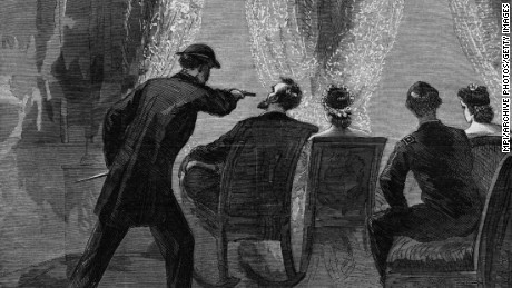 14th April 1865:  John Wilkes Booth assassinating President Abraham at the Ford Theatre, Washington DC. From an edition of Harper's Weekly. Printed by Currier & Ives. Original Artwork: Printed by Currier & Ives.  (Photo by MPI/Getty Images)