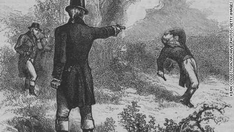 An engraved illustration of The Burr?Hamilton duel, this was a duel between two prominent American politicians, the former Secretary of the Treasury Alexander Hamilton and sitting Vice President Aaron Burr, on July 11 1804  (Photo by Kean Collection/Getty Images)